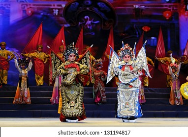 CHENGDU - JUN 10: chinese opera actor perform on stage at Jincheng theater.Jun 10, 2011 in Chengdu, China.