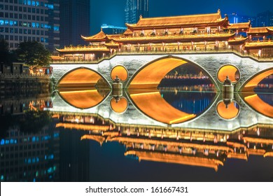 chengdu old bridge at night ablaze with lights , sichuan , China
