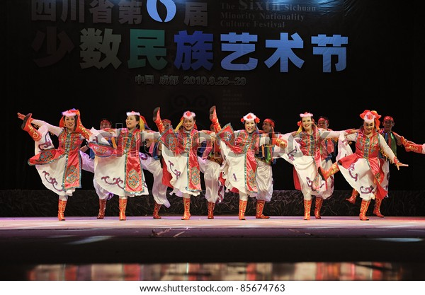 CHENGDU - SEP 28: Mongolian ethnic dancers perform on stage in the 6th Sichuan minority nationality culture festival at JINJIANG theater.Sep 28,2010 in Chengdu, China.