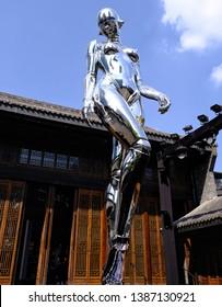 Chengdu, Sichuan / China - 30th April 2019: Dior Robot At Taikooli Chengdu.