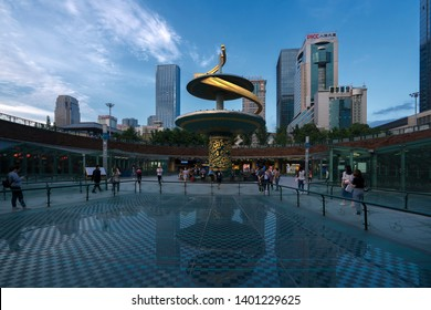 Chengdu, Sichuan / China - April 08 2019: The city view of Chengdu, the next silicon valley of South China and starting point of Silk Road initiative supported by president Xi Jinping amid trade war.