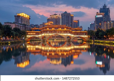 Chengdu, Sichuan / China - August 14 2019: the view of An Shun Lang Qiao, the famous bridge in Chengdu featuring traditional Chinese architecture.