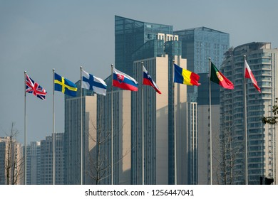 Chengdu, Sichuan / China - December 02 2018: Chinese and European national flags seen in downtown Chengdu. Relationship between China Europe has become tricky amid trade war and technology dispute.