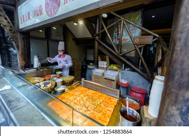 Chengdu, Sichuan / China - December 09 2018: Szechuan Food is the most famous Chinese food in the world. It features spicy and hot sauce, bbq style snacks, and delicious dan dan noodle.