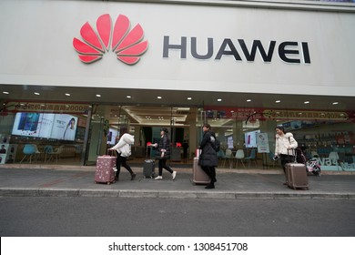 Chengdu, Sichuan / China - February 04 2019: Chinese tech firms such as Huawei, Oppo  and Vivo have fierce competition with Apple and Samsung, amid trade war and arrest of Huawei's CFO Meng Wanzhou