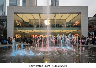 Chengdu, Sichuan / China - January 03 2019: Apple Retail Stores seen in downtown Chengdu, the largest city in South West China. Apple is experiencing sales slow down in China due to shrinking demand.