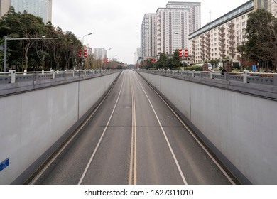 Chengdu, Sichuan / China - January 27 2020: empty road in downtown, despite of Chinese New Year. People quarantine themselves at home to prevent coronavirus spread across the country.