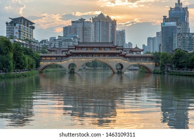 Chengdu, Sichuan / China - June 11 2019: An Shun Lang Qiao is an iconic architecture in China, showcasing its style from Ming Dynasty.