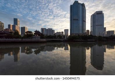Chengdu, Sichuan / China - June 13 2019: view of Jin Jiang, An Shun Lang Qiao and River Band buildings in Chengdu downtown. Chengdu is the largest city in South West China.