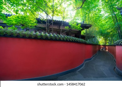 Chengdu, Sichuan / China - June 19 2019: the view in ancient temple Du Fu thatched cottage and Wu Hou Temple. Sichuan has a history of over 2500 years and is the starting point of the silk road.