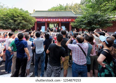 Chengdu, Sichuan / China - June 7 2018: Annual Chinese College Entrance Examination at Shi Shi High School. This is the largest exam in the world with 9.75 million registered students in 2018.