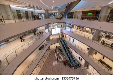 Chengdu, Sichuan / China - March 07 2019: Interior decoration of the largest luxury shopping Mall in Chengdu, called IFS. China is the largest luxury good consumption country in the world.