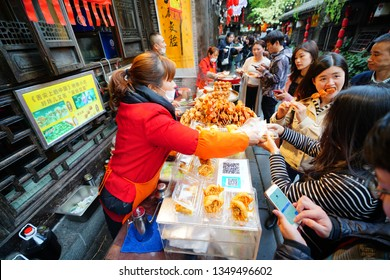 Chengdu, Sichuan / China - March 24 2019: digital payment code seen in the small street food stands in Chengdu. Ali Pay and Wechat Wallet has become the popular payment method for Chinese.