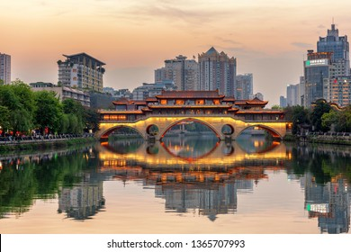 Chengdu, Sichuan / China - March 30 2019: landscape of Chengdu, the largest city of South West China, starting point of the road and belt initiative supported by Chinese president Xi Jinping.