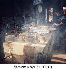 Chengdu, Sichuan / China - March 5th 2019: Pengzhen Old Town is a suburb of Chengdu close to the airport. It has one of the oldest tea houses in Chengdu.