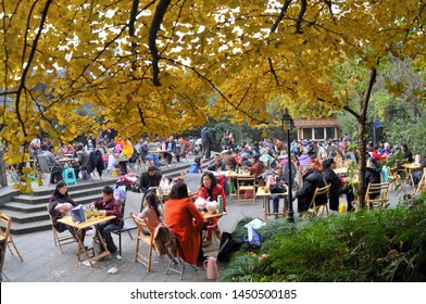Chengdu, Sichuan / China - October 03 2018: city view of Chengdu in fall, with ginkgo leaves turning yellow. Chengdu is famous for its tea shop and relaxing life style.