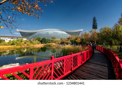 Chengdu, Sichuan / China - September 12th, 2018: Chengdu Global Center is the largest building by square foot in the world. It is a multi-function mall with entertainments and restaurants.