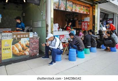 Imágenes, fotos de stock y vectores sobre Food Stand Sausage