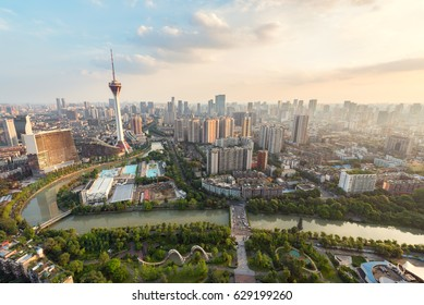 Chengdu, Sichuan Province, China - June 12, 2016: Sichuan TV tower and skyline in daylight