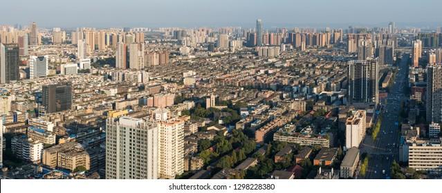 Chengdu, Sichuan province, China - Nov 8, 2015: Chengdu skyline aerial view panorama against blue sky