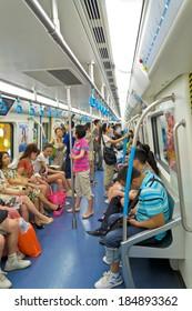 CHENGDU,CHINA - JUN 25,2011: Interior view of metro of No.1 subway of chengdu,china.
