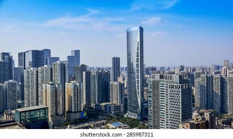 CHENGDU,CHINA - May 2,2015:city panorama of chengdu,china.One of the fastest growing city at west of china.