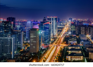 Chengdu,Sichuan province, China-April 24th,2017-The night view of Chengdu Tianfu district,China