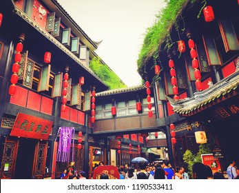 Chengdu,Sichuan,China.June 27th,2018.Jinli is a street in Chengdu, Sichuan, China. It is a part of the Temple of Marquis, and the buildings are in the Qing Dynasty style.