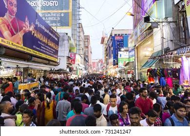 CHENNAI CITY, INDIA - 8 OCTOBER 2017 : People Walking shopping mall in ranganathan street, T.nagar, Chennai, India, Editorial