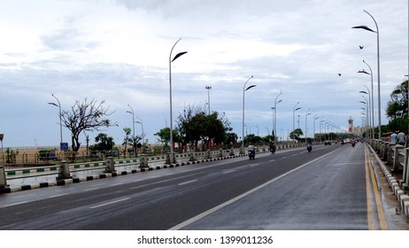 Chennai City Lighthouse, perspective view in blue sky day.