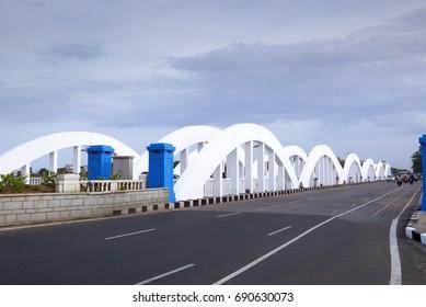 CHENNAI, INDIA - 4 August 2017: vehicles crossing the Napier Bridge, Chennai, India