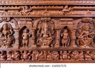 chennai, India - August 22, 2018 : Lord ganesh carving in hindu temple, chennai, India