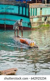 CHENNAI, INDIA - February 10, 2015: Fisherman everyday morning lifestyle at Royapuram fishing harbor, Kasimedu, Chennai, Tamil Nadu, India, Southeast, Asia.