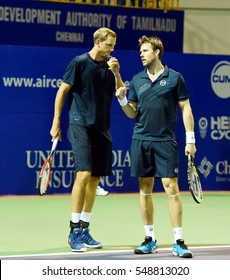 CHENNAI, INDIA - JANUARY 2, 2017: Andreas Siljestrom and Johan Brunstrom of Sweden discuss strategy during their first round doubles match at Aircel Chennai Open tournament in Chennai.