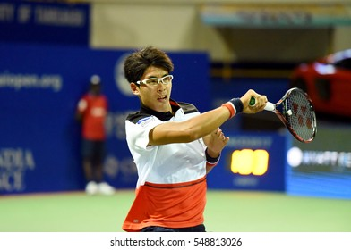 CHENNAI, INDIA - JANUARY 2, 2017: Hyeon Chung of South Korea plays against Borna Coric of Croatia in the first round match at Aircel Chennai Open tournament at SDAT Tennis Stadium in Chennai.