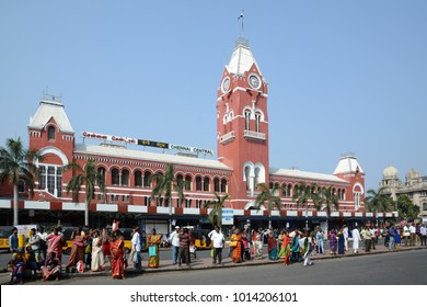 Chennai, India - January 26, 2018: Chennai Central, formerly Madras Central, is the main railway terminus in the city of Chennai, India. It is one of the most important hubs in the South.