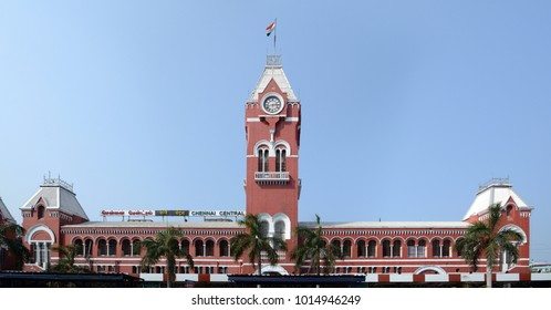 Chennai, India - January 26, 2018: Chennai Central, erstwhile Madras Central, is the main railway terminus in the city of Chennai, India. It is one of the most important hubs in the South.