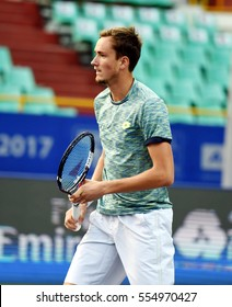 CHENNAI, INDIA - JANUARY 7, 2017: Daniil Medvedev of Russia plays against Dudi Sela of Israel in first semi-final match at Aircel Chennai Open tournament at SDAT Tennis Stadium in Chennai.