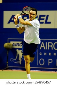 CHENNAI, INDIA - JANUARY 7, 2017: Roberto Bautista Agut of Spain plays against Benoit Paire of France in second semi-final match at Aircel Chennai Open tournament at SDAT Tennis Stadium in Chennai.