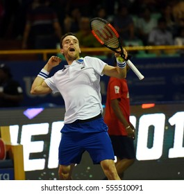CHENNAI, INDIA - JANUARY 8, 2017: Roberto Bautista Agut of Spain celebrates after winning the Aircel Chennai Open championship final against Daniil Medvedev of Russia at SDAT Tennis Stadium, Chennai.
