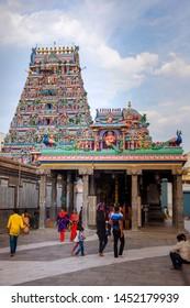CHENNAI, INDIA - JUlY 15, 2019: Beautiful view of Kapaleeshwarar Temple,chennai, Tamil Nadu, South India