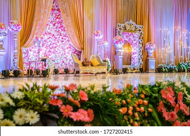 Chennai, India - June 05, 2019: Beautiful decoration of the wedding stage at GPN Palace.
