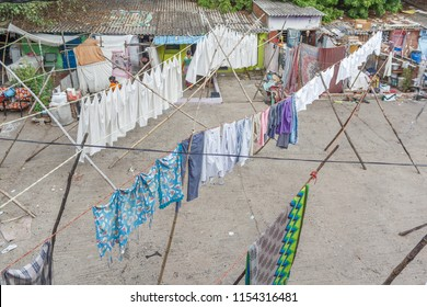 Chennai India June 10 2018: Dhobi Gana is a well known open air laundromat in Chennai India. The washers, locally known as Dhobis, work in the open to wash the clothes from chennai's hotels,hospita