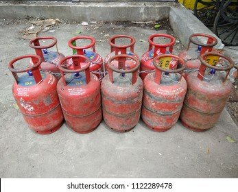 chennai india june 28 2018 liquefied petroleum gas (LPG) arranged in order before home delivery. for domestic use only and turn off regulator when not in use and check seal written in hindi language.