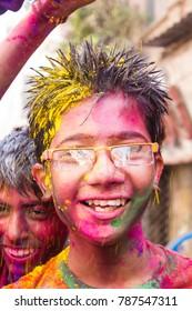Chennai, India - March 27 2013 : holi celebration in India