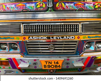Chennai India May 28th 2019: The face of Ashok Leyland truck decorated with india style based on tradition. Ashok Leyland is an Indian automobile company headquartered in Chennai