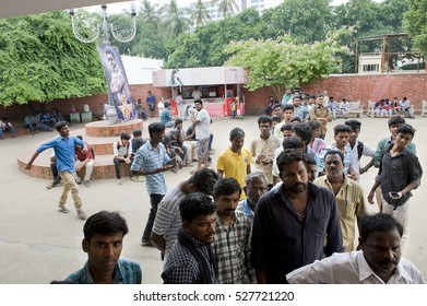 CHENNAI, INDIA - November 2016: AVM Productions is an Indian film production studio. It is the oldest surviving studio in India. Here the people entering the Rajeswari cinema.