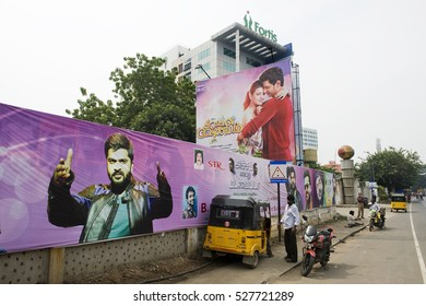 CHENNAI, INDIA - November 2016: AVM Productions is an Indian film production studio. It is the oldest surviving studio in India. Huge movie posters at the entrance.