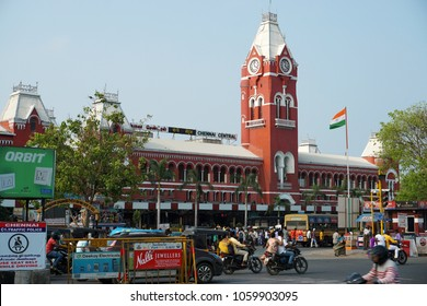 CHENNAI, TAMIL NADU, INDIA, APRIL 01, 2018: The Central Railway station, one of the historical buildings from the British era, in the evening. Historic buildings in Chennai, Tamil Nadu.