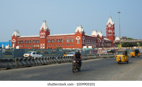 CHENNAI, TAMIL NADU, INDIA, APRIL 01, 2018: The Central Railway station, one of the historical buildings from the British era, in the evening  Historic buildings in Chennai.